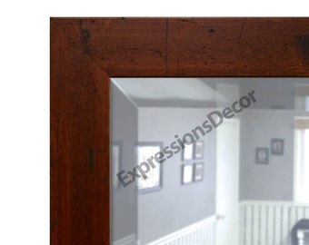 Custom Distressed Walnut Beveled Wall Mirror - FREE SHIPPING