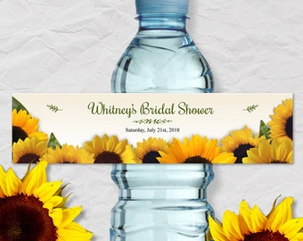 "Printable Rustic Sunflowers Water Bottle Labels - Bridal Wedding Shower; Personalized 8"" x 2"" Labels - Editable PDF, Instant Download"