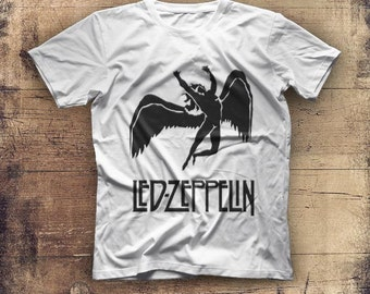 New Led Zeppelin Logo Mens White T Shirt Graphic Tee Size S M L XL 2XL
