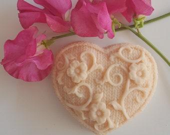 Beautiful Heart Shaped Soap, Nursing, Aromatic, Handmade Soap.
