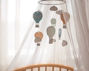 Gift for Baby Nursery decor Baby mobile woodland Crib mobile Hot air ballon baby mobile Hot air ballon Air ballon nursery Nursery mobile