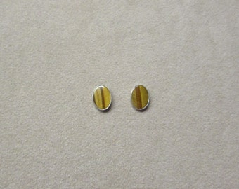 Tiger's Eye STERLING silver earrings with a post.
