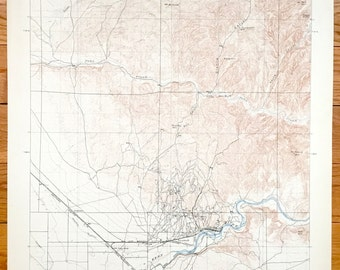 Antique Bakersfield California 1906 Us Geological Survey Topographic Map Kern Oil City