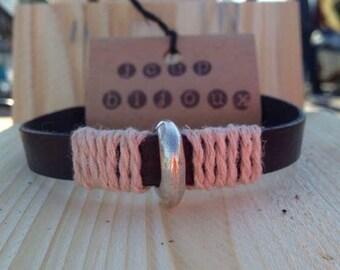 Bracelet black leather, ropes, man