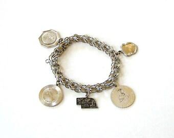 sale vintage sterling silver Nebraska state charm bracelet with love token charms