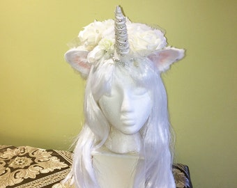 WHITE Unicorn Headpiece/Wig w/Pearls & Crystals