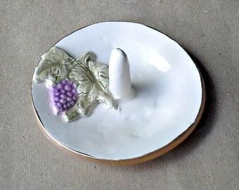 Ceramic Ring Holder Bowl Purple Grapes Off White