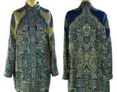 80s Reversible Paisley Duster / Vintage 1980s Woven Cotton Kimono Coat / Artsy Bohemian Art to Wear Layering Jacket / S M or L