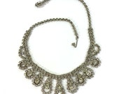 Signed Weiss Rhinestone Necklace / Vintage 1960s Clear Rhinestone Adjustable Length Necklace