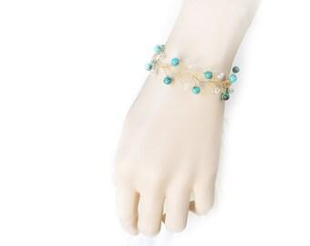 Bridesmaid Bracelet, Crystal Bracelet, Bridal Bracelet, Bridal Jewelry, Turquoise Jewelry, Wedding Jewelry, Wedding Bracelet by Durango Rose