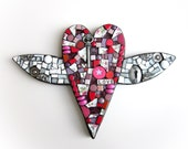 Heart With Wings. (Handmade Mixed Media Mosaic Wall Hanging by Shawn DuBois)