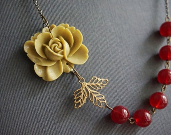 Statement Necklace,Olive Flower Necklace,Olive Necklace,Maroon Necklace,Bridesmaid Jewelry Set,Bridesmaid Gift,Flower Necklace,Leaf Jewelry