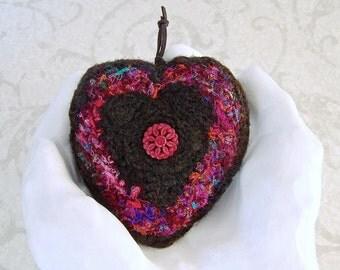I Love You Heart Shaped Silk Ornament - Unique Handmade Anytime Heart Decor Gift for Mom - Romantic Anniversary Valentine's Keepsake STH04