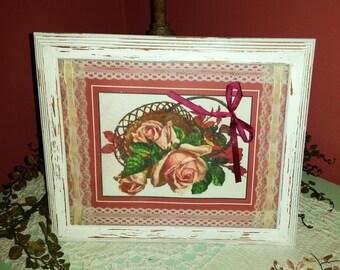 COTTAGE SHABBY CHIC Framed & Embellished Vintage Romantic Pink Rose Print