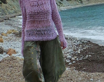 Pale pink loose knit, lightweight sweater
