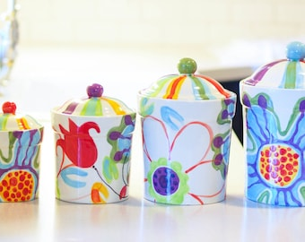 Kitchen Canister Set Canister Set Kitchen Canisters Ceramic Canister Pottery Canister Colorful Kitchen Gift for Her Gift for Bride J