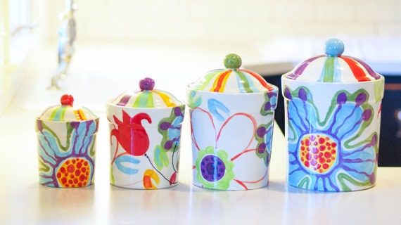 kitchen canister set canister set kitchen canisters ceramic tunisian sunset colorful kitchen canister set