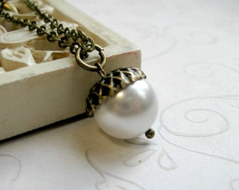 Holiday necklace, white acorn, gift for her, swarovski pearl, black friday, brass chain, gift under 30,