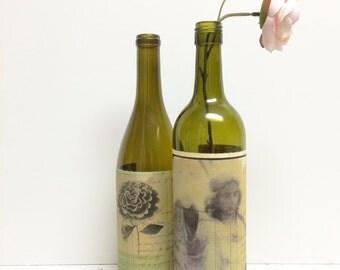 Wine Bottle Vase, OOAK, Altered Wine Bottle Vase, French Country Vase, Rustic Wedding Decor, Olive Green Vase, Hostess Gift, Gifts for Her