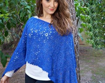 Sapphire shimmer poncho,crochet poncho pattern,easy poncho pattern