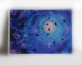 Stardust, Artist trading card, aceo original, stars, moon art, blue art, miniature art, little gifts, night art, #Gifts under 10 #aceo