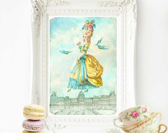 Marie Antoinette print, French vintage home decor, Paris, Marie Antoinette illustration, French decor, wall art, French decor, fantasy art