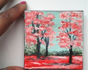 "Mini Oil Painting Landscape Trees Red Pink 3""x 3"" READY to SHIP"