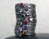 Gemstone Stackable Rings Set of ? You Choose - Stack Mother Ring - Oxidized Silver - Personalized Birthstone Jewelry - Family Stack Rings