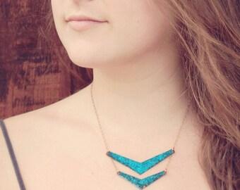 Blue Chevron Choker Necklace, Double Chevron Choker Necklace, Patina Copper Necklace, Rustic Boho Necklace
