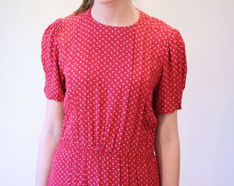 80s Dress BELLE FRANCE, Red Pink Print Dress, Girly Ditzy Print Dress, Vintage Rayon Dress by Jane Schaffhausen, size S Small