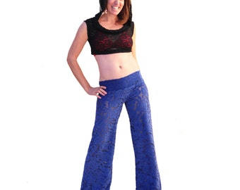 Sheer and Blue Velour Pants - Bellbottom Dance Pants