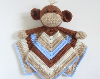 Monkey Lovey - Hand Crocheted Stuffie Blanket