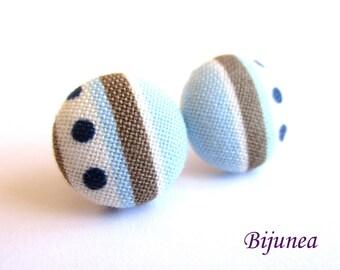 Stripe earrings - Blue stripe stud earrings - white stripes posts - Baby blue stripes post earrings sf1318