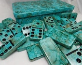Turquoise Passion---  Hand Painted 28 Piece Standard Size Double Six Domino Set in Hand Painted Storage Box, alcohol inks, tiles, toys, game