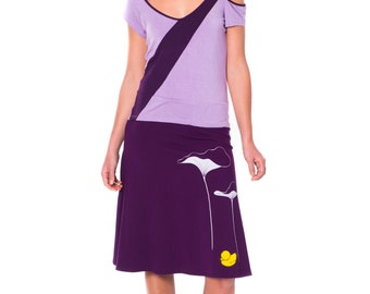 Lovely Design Skirts . Women Cotton Skirt . Purple Cotton Skirt . A-line Casual Skirt . Applique Skirt -Lotus leaves and a little duck