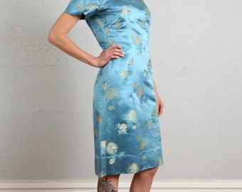 SALE- 1960s Satin Dress Asian Wiggle in Blue