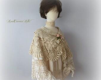 Bridal Cape Bridal Shawl Bridesmaids Cape Bohemian Shawl Festival Shawl Lace Cape Wedding Shawl Mother of Bride Shawl Crochet Shawl