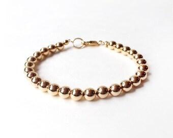 Bracelet - 14K Gold Filled Bead Bracelet - 6mm Beads - Everyday Wear - 14K Yellow Gold Ball Bracelet - Simple Gold Bracelet - Gold Beads