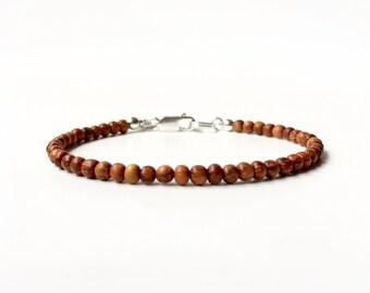 Bracelet - 4mm Bayong Wood Bead Bracelet - Wood Ball Bracelet - Sterling Silver or 14k Gold Fill - Oil Diffuser Jewelry