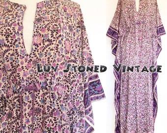 Vintage 70s Indian Boho Hippie Cotton Caftan Drawstring India Festival Gypsy Maxi Dress   D106   SML   1207.7.27.16