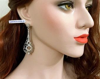Statement Bridal Earrings, lnfinity Wedding Earrings, Silver Earrings, Long Dangle Bridal Jewelry, Swarovski Crystal Wedding Jewelry, CELLO