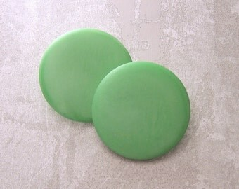Large Green Buttons, 40mm 1-1/2 inch - Smooth Marbled Satin Green Sewing Buttons - 2 VTG NOS Pastel Green Plastic Shank Buttons PL068