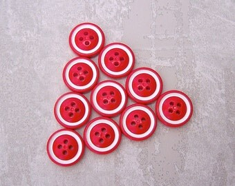 Retro Red Buttons, 19mm 3/4 inch - Glossy Red Sewing Buttons with White Ring-Around - 10 VTG NOS Red Plastic Sew Through Buttons PL402 2LS
