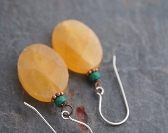 Turquoise and Yellow Jade Earrings