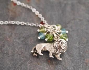 Peridot, Aquamarine and Sterling Sliver Lion Pendant