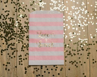 READY TO SHIP! Pack of 25qty – Pink and Gold Foil Stamped Treat Bags