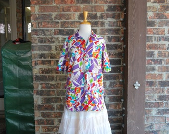 Vintage Novelty Print Alexander Henry Mod Blouse - 1960s 1970s - Funky Psychedelic Top Homemade Home Sewn
