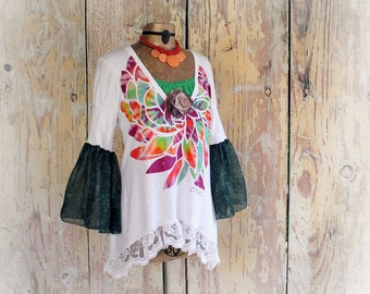 Women's Boho Shirt Colorful Hippie Top Upcycled Clothing Retro 70's Clothes Festival Tunic Recycle Eco Wear Chic Funky Style L/XL 'JACEY'