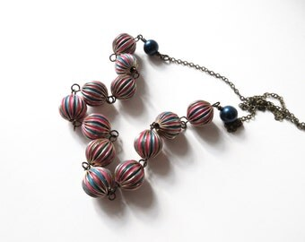 Pink and Dark Blue Beaded Retro Necklace, Swarovski Pearl Accent, Hand Painted Striped Metal Colorful Vintage Inspired Brass 1960 Sixties