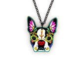 Boston Terrier Day of the Dead Sugar Skull Dog Necklace